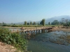 Crossing a bamboo bridge around Pai
