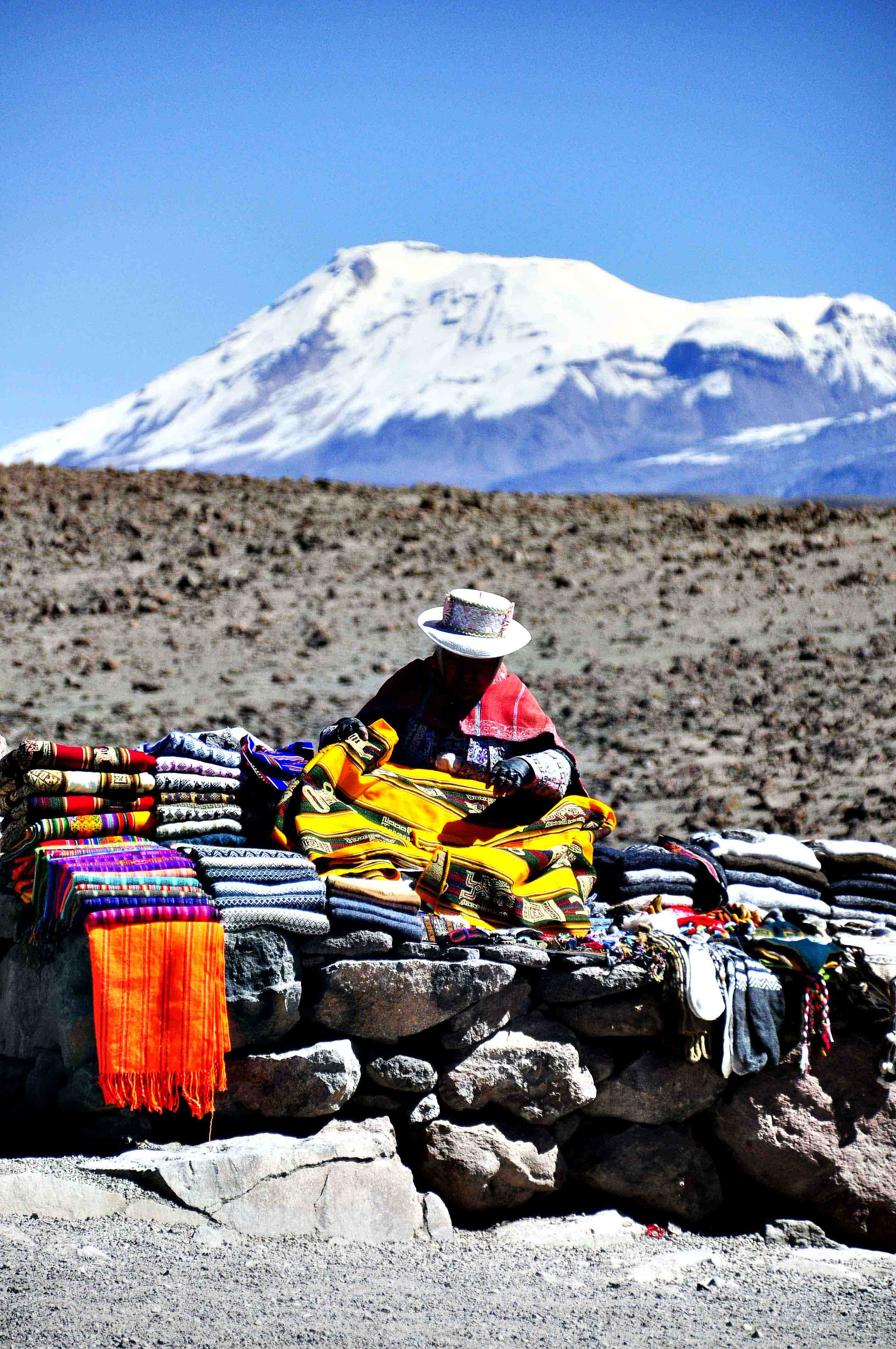 Lady selling warm clothes